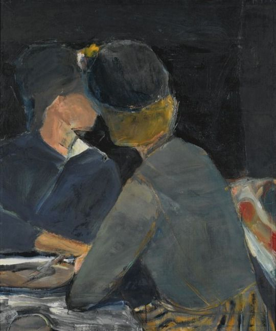 Two Women at Table by Richard Diebenkom, 1963