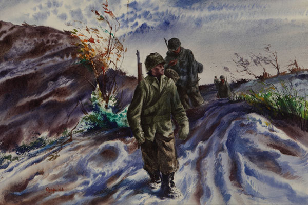 """Patrol - First Snow by Edward Reep, WWII Combat Artist"