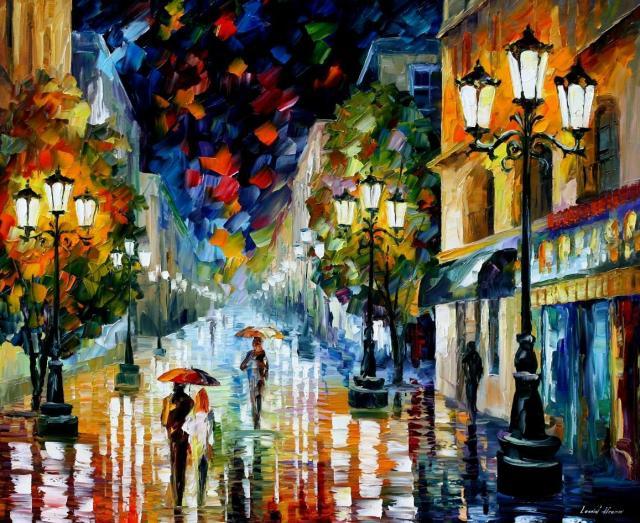 "New doors and new paths. Artwork by Leonid Afremov ""Light Through the Rain"